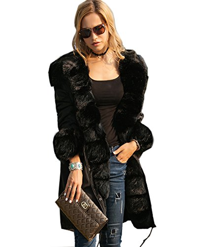 Roiii Luxury Women Faux Fur Coat Casual Hoodies Parka Long Trench Jacket Outwear (XXX-Large, Black)