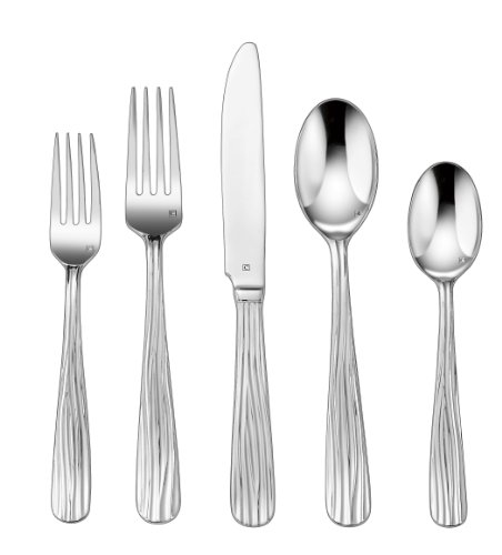 Cuisinart 20-Piece Flatware Set, Stream Seine - Each piece is handcrafted of the finest heavy-gauge stainless-steel Careful attention to detail from design through manufacturing to create a unique dining experience Large continental-sized pieces - kitchen-tabletop, kitchen-dining-room, flatware - 41RQmnaFPxL -