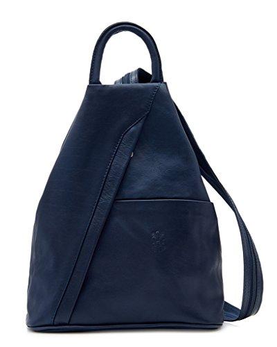 Bolso de cuero suave con cremallera convertible en mochila y bandolera, diseño italiano Multicolor - azul marino