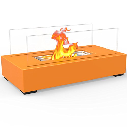 Regal Flame Utopia Ventless Indoor Outdoor Fire Pit Tabletop Portable Fire Bowl Pot Bio Ethanol Fireplace in Orange - Realistic Clean Burning like Gel Fireplaces, or Propane Firepits (Indoor Propane)