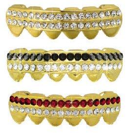 Hip Hop Lower Teeth 14K Gold Plated Mouth Grillz Set (Bottom) 3 pc Set
