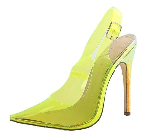 WSKEISP Womens High Heel Slippers Slide Sandals Pointey Toe Slingback Stiletto Slip On Mules Shoes Yellow PVC Size ()