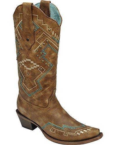 Corral Womens Dubbade Sydvästra Cowgirl Boot Klipp Tå - C2944 Tan