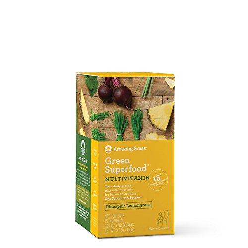 Amazing Grass Green Superfood, Multivitamin, Pineapple Lemongrass, Powder, Box of 15 Individual Servings, 0.24oz, Biotin, B12, Zinc, Vitamin D3, Wheat Grass, Spirulina, Alfalfa, Probiotic, Greens (Vitamins Vitamin Zinc B-12)