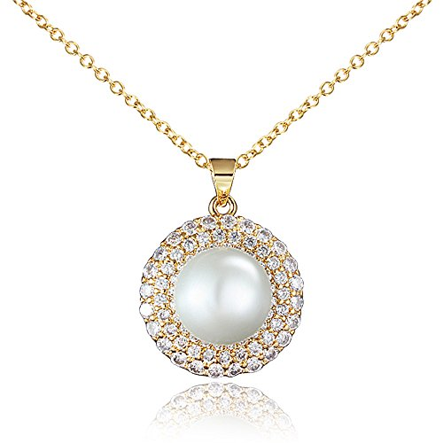 Price comparison product image Pure Imitate Cultured Pearl Pendant Necklace 18K Gold Mother Day Gift