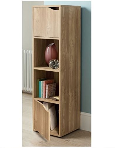 Turin 4 Cube Shelves Bookcase Shelves Storage Unit Oak Wood Dvd Cd Rack