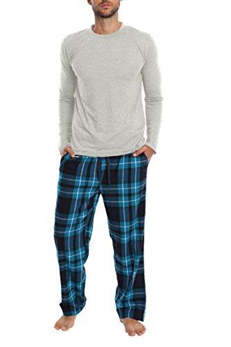 T-shirt Like Needs Pants (Top Shelf Men's Tee Shirt And Pants Sleep Set, Sleepwear for Men - Heather Navy & Evergreen Plaid, Medium)