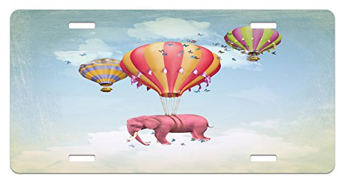 - Ambesonne Elephant License Plate, Pink Elephant in The Sky with Balloons Illustration Daydream Fairytale Travel, High Gloss Aluminum Novelty Plate, 5.88 L X 11.88 W Inches, Multicolor