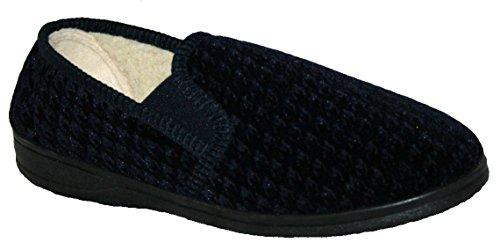 Para hombre diseño de cuadros forro de pelo zapatillas de dormitorio con refuerzos laterales para extra ancho azul marino