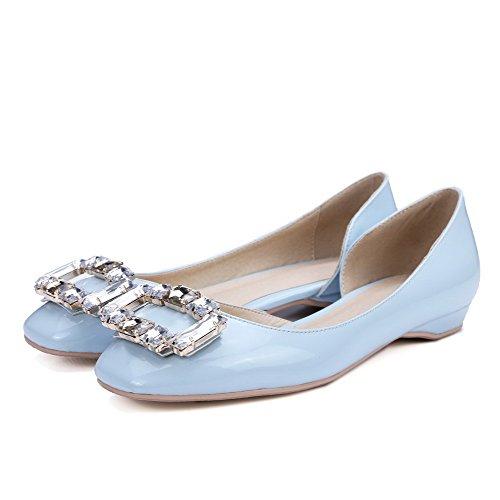 Allhqfashion Pelle Verniciata Quadrata Punta Chiusa Tacco Basso Su Solide Pompe-scarpe, Blu, 35