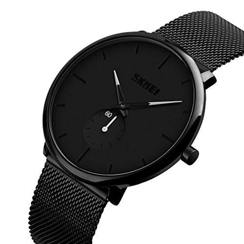 Men's Watch Fashion Black Ultra-Thin Minimalist Wrist Watch Analog Quartz Milanese Mesh Band Sub Dial Business Dress Casual Watches - White