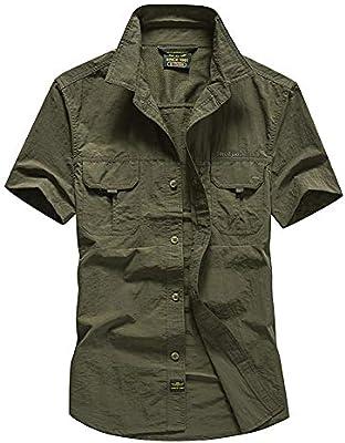 Guiran Militar Camisas para Hombre Secado Rápido Verano Outdoor Manga Corta Suelto Camiseta Verde del ejército M: Amazon.es: Deportes y aire libre