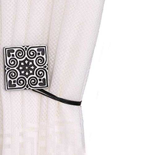 EleCharm 1Pair Peace Art-Carved Square Curtain Tie Back Magnetic Holdback Buckle Indoor Drapery Clip Decoration (Black)