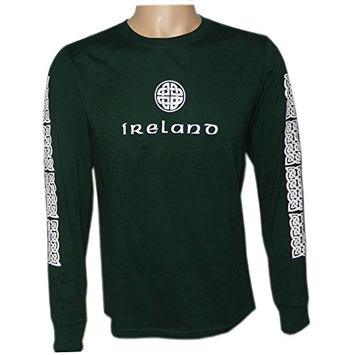 Irish Celtic Design Shirt, Celtic Knot Design, Long Sleeve, XL, Green (Irish Celtic Design)