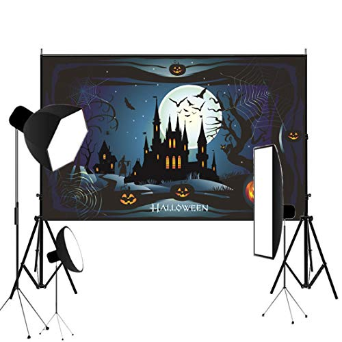 (Lelinta Halloween Backdrop 7X5ft Vinyl Photography Background Halloween Pumpkin Lamps Horror Night Graveyard Photo Booth Props Background Studio Prop)