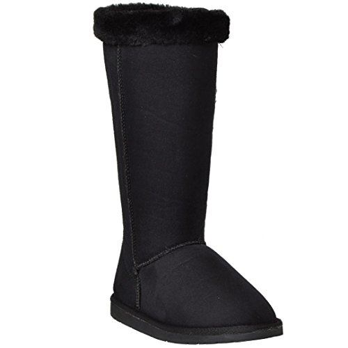 Calf Trimming Pull Black Boots Casual Fur Womens on Cuff Mid Shoes Fx5HgqX4