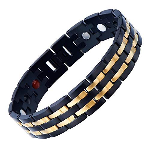 COOLSTEELANDBEYOND Exquisite Stainless Steel Mens Magnetic Bracelet Gold Black with Magnets and Free Link Removal Tool ()