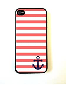 Coral And White Stripes Blue Anchor Sailor Cover Case For Iphone 4s and 4s(Black) with Best Plastic