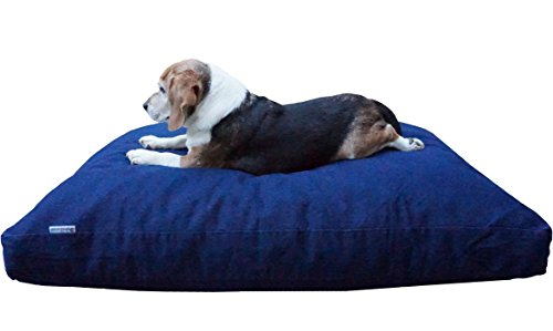 Dogbed4less Large Memory Foam Dog Bed Pillow with Orthopedic Comfort + Waterproof Liner and Durable Pet Bed Denim Cover 41''X27'', Blue by Dogbed4less
