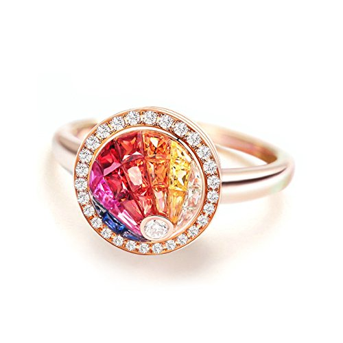 Daesar Womens Rings 18K Rose Gold 0.86ct Rainbow Gem Circular Mosaic Engagement Promise Ring Size 5.5 by Daesar