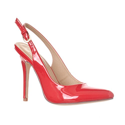 Riverberry Women's Lucy Pointed-Toe Sling Back Pump Stiletto Heels, Red Patent, (4in Sexy High Heel Shoe)
