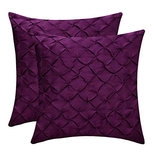 The White Petals Plum Decorative Pillow Covers (Faux Silk, Pinch Pleat, 18x18 inch, Pack of -