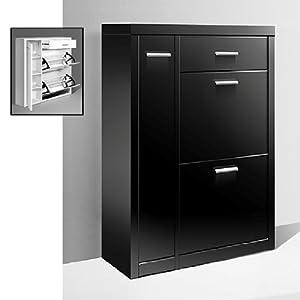 lazio shoe cabinet with doors in high gloss black lazio