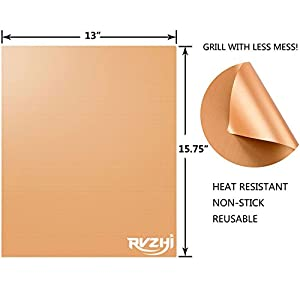 RVZHI Copper Grill Mat Set of 3-100% Non-stick BBQ Grill & Baking Mats - FDA Approved, PFOA Free, Easy to Clean and Reusable - As Seen on TV - 15.75 x 13 Inch