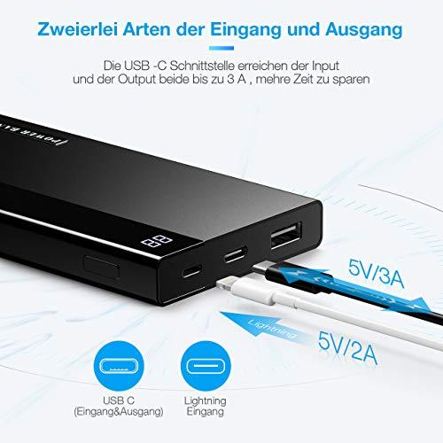 OMBAR 20000mAh Powerbank, Externer Akku enorme Kapazität mit LED Digitalanzeige, USB-C Output, schnelles Laden für Smartphone(Schwarz)