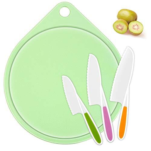 [해외]LEEFE kids Cooking Supplies Knife (3-Piece) and Cutting BoardFirm Grip Safe Lettuce and Salad Knives Real Kids Cooking Tool in 3 Sizes & Colors Serrated Edges BPA-Free (Green) / LEEFE kids Cooking Supplies Knife (3-Piece) and Cutti...
