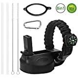 Peyou Straw Lid/Cap Compatible Hydro Flask Wide Mouth Sport Water Bottle + 2 Straws,2 Cleaning Brush,Paracord Handle,Alloy Carabineer Compatible Hydro Flask 12 oz,16 oz,18 oz,20 oz,32 oz,40 oz,64 oz