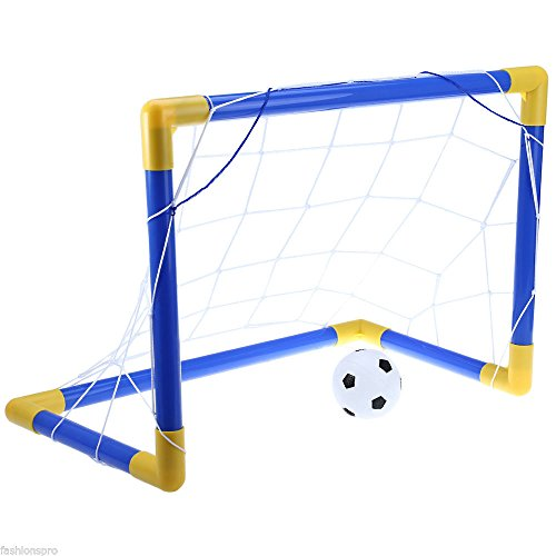 MAZIMARK-Football Soccer Goal Post Net Set with Pump Indoor Outdoor Kids Sport - Shops Rodeo At Drive