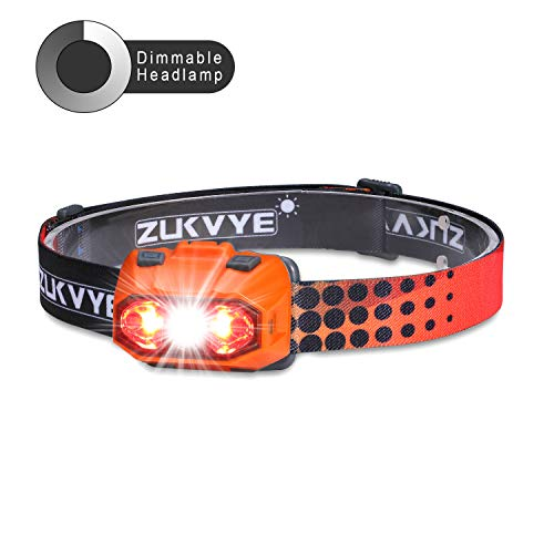 ZUKVYE Dimmable Headlamp, Ultra Bright 230 Lumen White & Red LED Headlamps, Waterproof Head Light for Running, Camping, Kids, DIY & More - 4 AAA Batteries Included