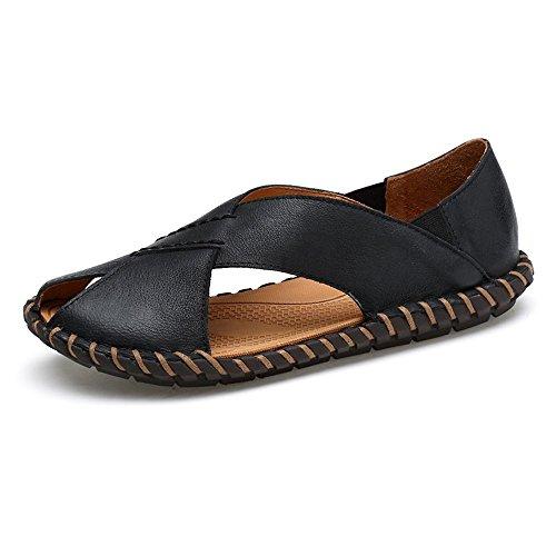 Hecho a Sandalias de Zapatillas de Hombres de Vaca Trabajo Antideslizantes Cuero de Ocasionales Zapatillas Negro Zapatos Genuino Mano los de Playa AT1wwq