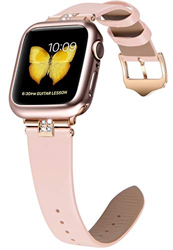 JSGJMY Compatible with Apple Watch 38mm 40mm 42mm 44mm Women Shiny Patent Genuine Leather Strap with Diamond Rhinestone for iWatch Series 5 4 3 2 1 (Soft Pink/Rose Gold, 42mm/44mm)