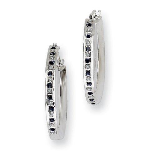 IceCarats® Designer Jewelry Sterling Silver Diamond Sapphire Round Hoop Earrings