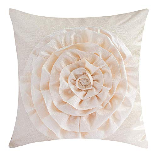 The White Petals Cream Throw Pillow Cover (3D Flower, 18x18 inch, Pack of 1)