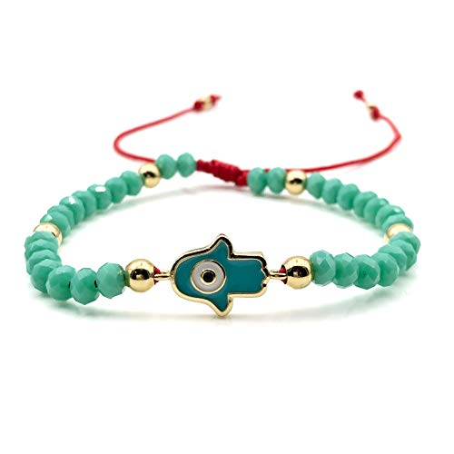 Hamsa Hand Evil Eye Turquoise Crystal Adjustable Red String Bracelet for Women (Turquoise Hamsa Hand Bracelet)