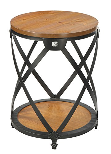 Convenience Concepts Nordic Round End Table, Dark Walnut - Black powder coated metal frame Ventilated Criss cross design Bottom shelf for additional storage and display - living-room-furniture, living-room, end-tables - 41RQsi01ZjL -