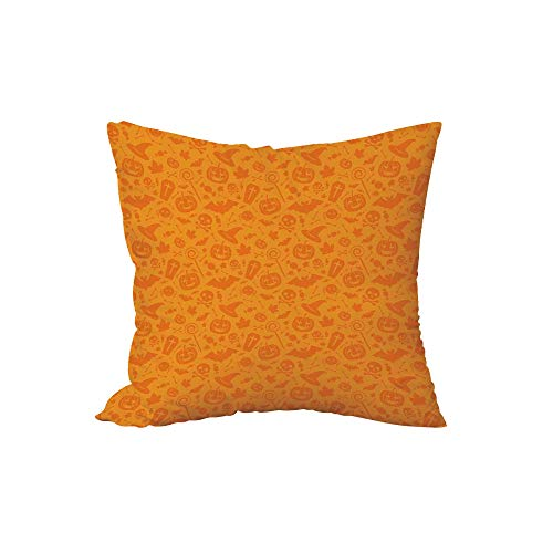 iPrint Polyester Throw Pillow Cushion,Halloween Decorations,Monochrome Design with Traditional Halloween Themed Various Objects Day,Orange,17.7x17.7Inches,for Sofa Bedroom Car Decorate