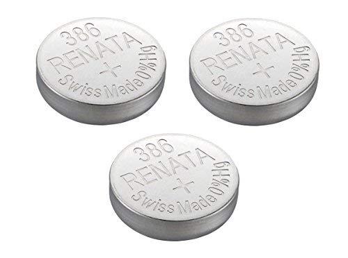 (Renata Watch Battery Swiss Made Renata 386 or SR43SW Or AG12 1.5V (3 Batteries, 386 or SR 43 SW))