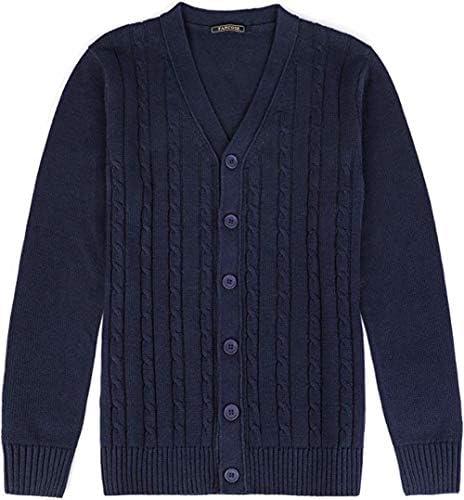 [チューカー ] カーディガン メンズ ニット 長袖 セーター ボタン付き ケーブルニットカーディガン 無地 スリム アウター