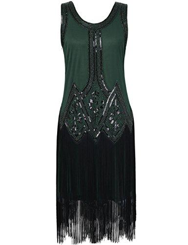 [Kayamiya Women's Inspired 20s Sequined Beaded Art Deco Gatsby Flapper Dress XL Green] (Dress 1920s)