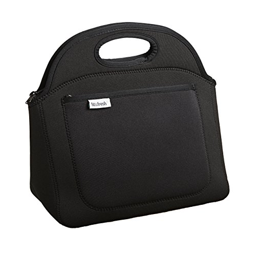 Fit & Fresh Rosewood Neoprene Lunch Bag, Lightweight, Washable, Zips Closed, Black