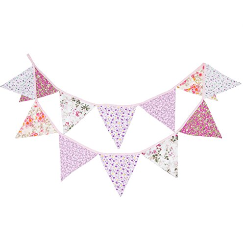 LOVENJOY Pink Floral 100% Cotton Bunting Banner for Girls Shabby Chic Wedding Birthday Decoration