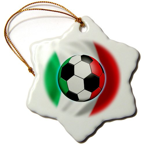 3dRose orn_155053_1 Italy Soccer Ball Concept Italian Flag Banner Waving National Country Snowflake Ornament, Porcelain, 3-Inch by 3dRose