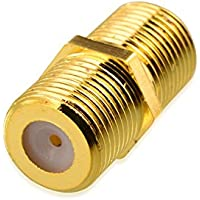 GET Gold Plated F-Pin Coaxial Coupler RG6 Connector Female to Female Type Cable Adaptor