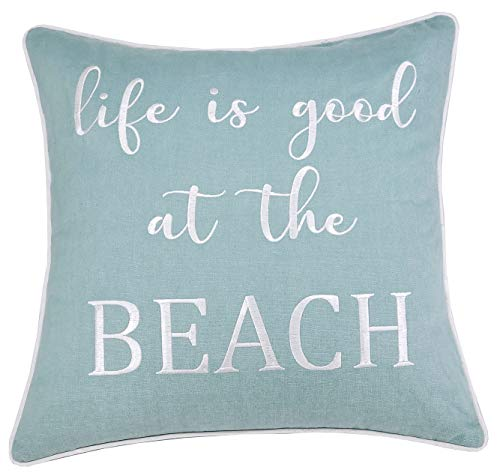DecorHouzz Embroidered Beach Inspired Pillowcase Paddle Out Surf Decor Beach House Coastal Living Surfer Gift Ocean Lover California Style (Life is Good (Teal), 18