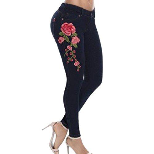 Mujeres Asian 5XL Bordado Pantalones S Jeans Elásticos Slim Flacos de 6 Negro de Pantalones Colores Fit Estiramiento Las aqaFtS