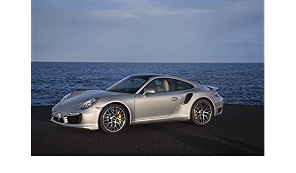 Amazon.com: Porsche 911 (991) Turbo S (2013) Car Art Poster Print on 10 mil Archival Satin Paper Silver Side Ocean View 36